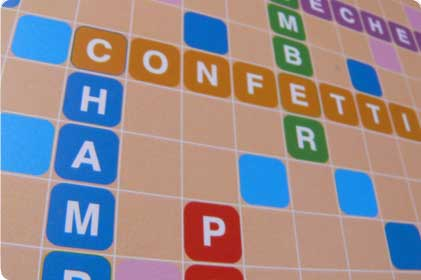 Closeup of word game